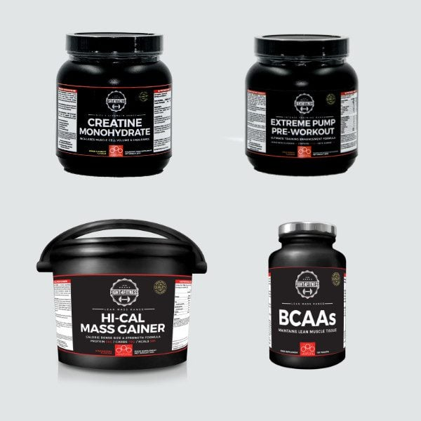 Bulk up bundle creatine monohydrate BCAAs hi-cal mass gainer extreme pump pre-workout